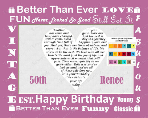 50th Birthday Gift. 50th Poem Heart Print 8 X 10. 50th Birthday Gift Idea