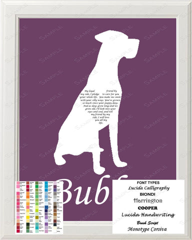Personalized Great Dane Silhouette Love Poem Art 8 X 10 Dog Gift Print