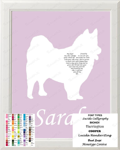 Personalized American Eskimo Dog Eskie Silhouette Art Love Poem Gift 8 X 10 Print Eskie Dog Pet Gifts
