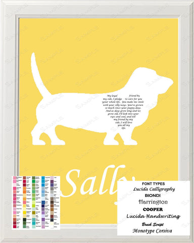 Personalized Basset Hound Dog Basset Hound Silhouette Art Love Poem Gift 8 X 10 Print Basset Hound Dog Pet Gifts