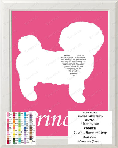 Personalized Bichon Frise Silhouette Art Bichon Frise Love Poem Gift 8 X 10 Print Bichon Frise Dog Pet Gifts
