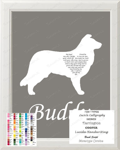 Personalized Border Collie Silhouette Art Border Collie Love Poem Gift 8 X 10 Print Border Collie Dog Pet Gifts