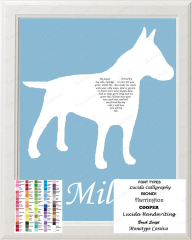Personalized Bull Terrier Silhouette Art Bull Terrier Love Poem Gift 8 X 10 Bull Terrier Dog Print