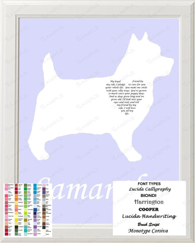Personalized Cairn Terrier Silhouette Art Cairn Terrier Love Poem Gift 8 X 10 Cairn Terrier Dog Print