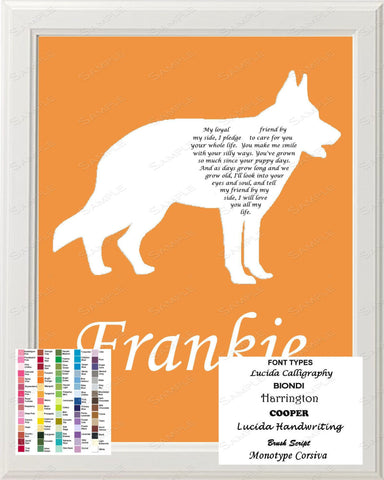 Personalized German Shepherd Silhouette German Shepherd Art Love Poem Gift 8 X 10 Print German Shepherd Dog Gifts