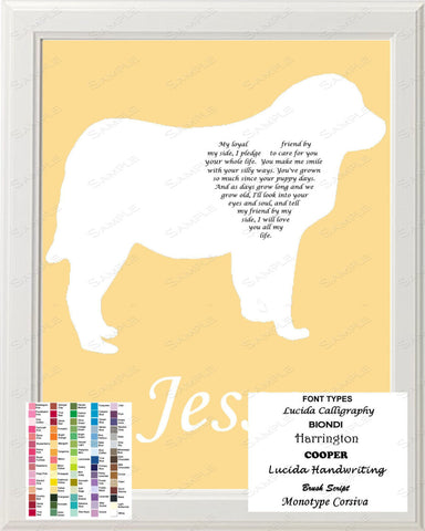 Personalized Great Pyrenees Silhouette Great Pyrenees Love Poem Art 8 X 10 Great Pyrenees Dog Gift Print