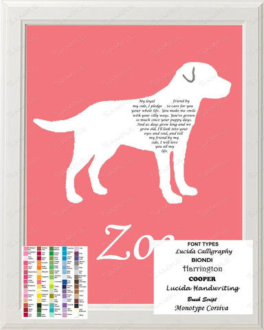 Labrador Retriever Love Poem Art 8 X 10 Print