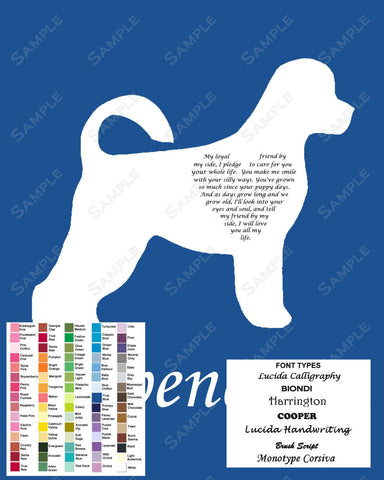 Portuguese Water Dog Love Poem Art 8 X 10 Print. Portuguese Water Dog Gift