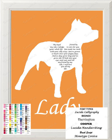 Custom Pitbull Silhouette Pitbull Love Poem Art 8 X 10 Print Pitbull Dog Gift