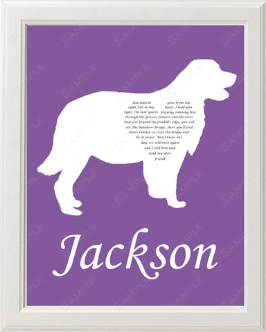 Personalized Golden Retriever Silhouette Pet Memorial Golden Retriever Love Poem Gift 8 X 10 Golden Retriever Dog Memorial Print