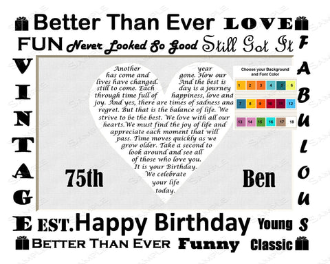 Personalized 75th Birthday Gift 75th Love Poem Heart Print 8 X 10 75th Birthday Gift Ideas