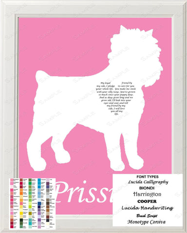 Personalized Affenpinscher Dog Silhouette Affenpinscher Art Love Poem Gift 8 X 10 Print Affenpinscher Dog Pet Gifts