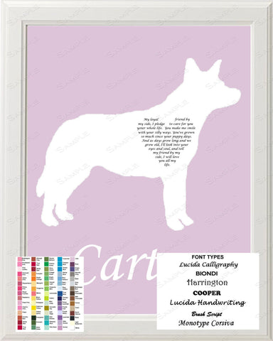 Custom Australian Cattle Dog Silhouette Art Australian Cattle Dog Love Poem Gift 8 X 10 Print Australian Cattle Dog Dog Pet Gifts
