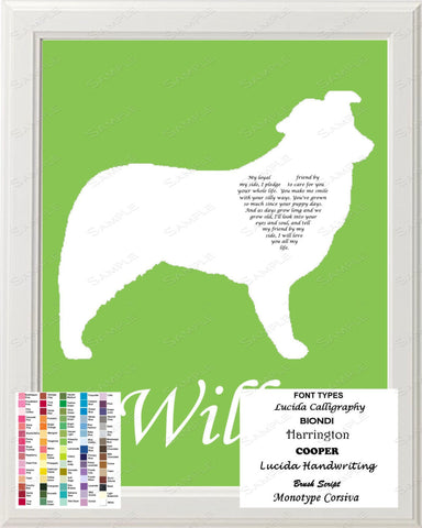 Personalized Australian Shepherd Dog Australian Shepherd Silhouette Art Love Poem Gift 8 X 10 Print Australian Shepherd Dog Pet Gifts