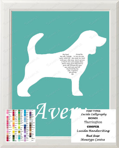 Personalized Beagle Dog Silhouette Art Beagle Love Poem Gift 8 X 10 Print Beagle Dog Gifts