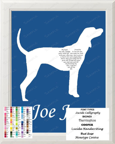 Personalized Coonhound Silhouette Art Coonhound Love Poem Gift 8 X 10 Coonhound Dog Print