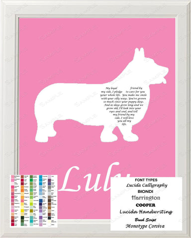 Personalized Corgi Silhouette Art Corgi Love Poem Gift 8 X 10 Print Corgi Dog Pet Gifts