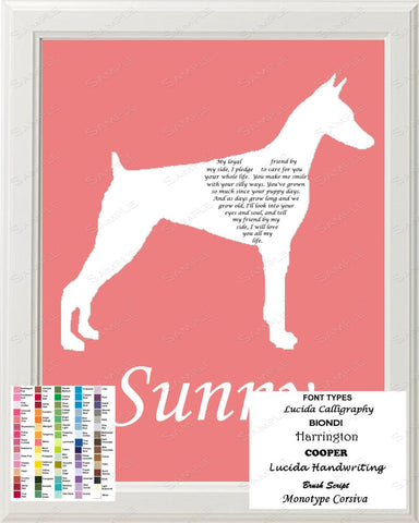 Personalized Doberman Silhouette Doberman Art Love Poem Gift 8 X 10 Print Doberman Dog Gifts