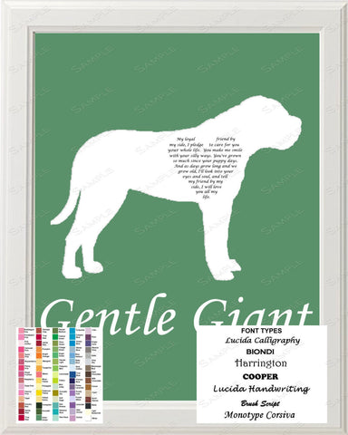 Personalized Mastiff Silhouette Mastiff Love Poem Art 8 X 10 Print Mastiff Dog Gift
