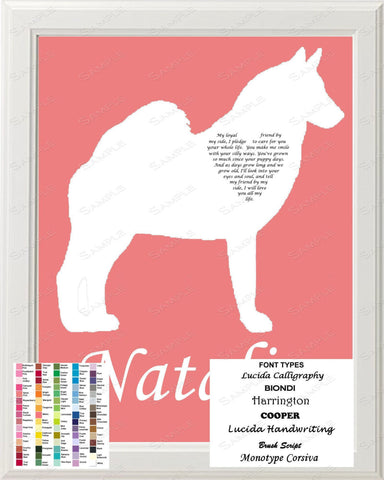 Personalized Norwegian Elkhound Silhouette Norwegian Elkhound Love Poem Art 8 X 10 Print Norwegian Elkhound Dog Gift