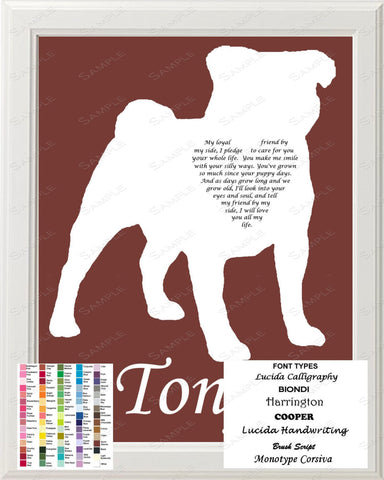 Personalized Pug Silhouette Pug  Love Poem Art 8 X 10 Print Pug Dog Pet Gifts