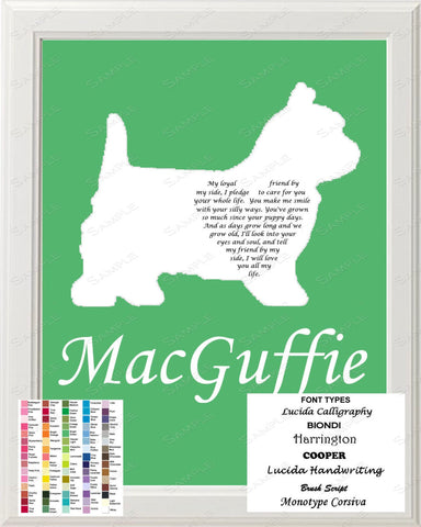 Westie Love Poem Art 8 X 10 Print. Westie Dog Gift