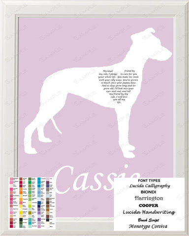 Personalized Whippet Silhouette Whippet Love Poem Art 8 X 10 Print Whippet Dog Gift