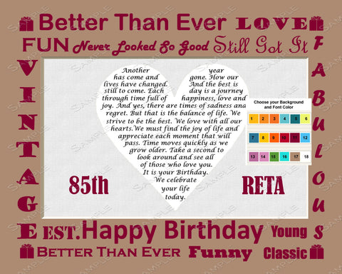 Personalized 85th Birthday Gift Poem Heart Print 8 X 10 Unique Ideas