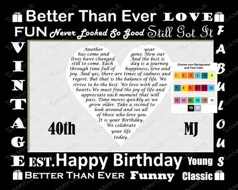 40th Birthday Love Poem Gift. 8 X 10 Print. Forty Birthday Gift Ideas
