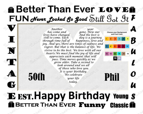50th Birthday Gift Love Poem. 50th Birthday Gift Heart Print 8 X 10