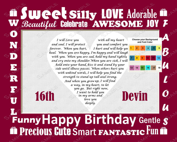Personalized 16th Birthday Gift Poem 16th Birthday Heart