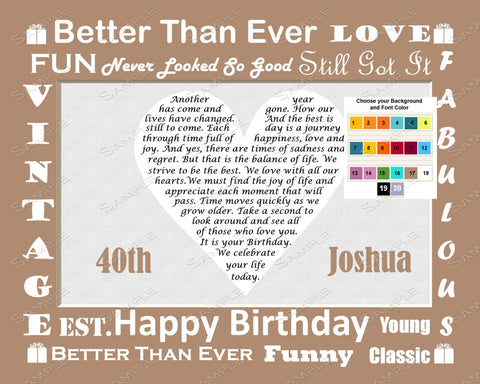 Personalized 40th Birthday Gift 40th Birthday Poem 8 X 10 Print 40th Birthday Gift Ideas