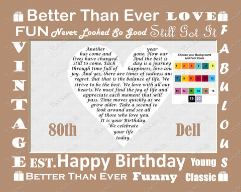 80th Birthday Poem 8 X 10 Print