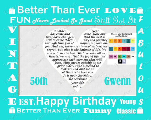 50th Birthday Gift Poem Heart - 50th Birthday Gift Ideas - 8 X 10 Print - Unique Fifty Birthday Gift Ideas