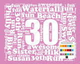 Personalized 30th Birthday Gift Word Art - 30th Birthday - Thirty Birthday 8 X 10 Print - Unique Fun Cute