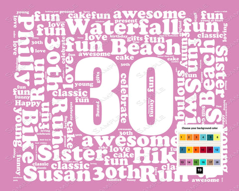 30th Birthday Gift Word Art - 30th Birthday - Thirty Birthday 8 X 10 Print - Unique Fun Cute