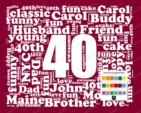 Personalized 40th Birthday Gift Word Art - 40th Birthday - Forty Birthday 8 X 10 Print - Unique Fun Cute