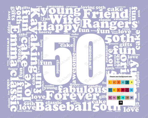 Personalized 50th Birthday Gift Word Art - 50th Birthday - Fifty Birthday 8 X 10 Unique Fun Cute Digital Download .JPG