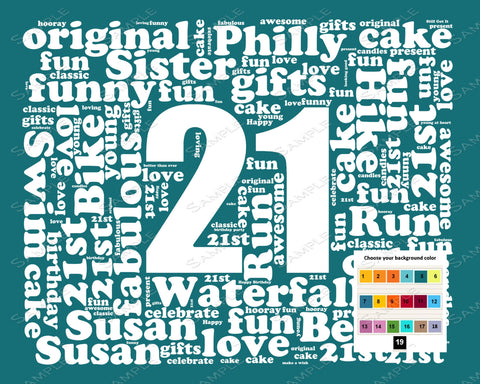 Personalized 21st Birthday Gift Word Art - 21st Birthday - 8 X 10 Print - Twenty First Birthday Gifts Unique Fun Cute