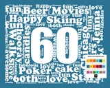 Personalized 60th Birthday Gift Word Art - 60th Birthday - Sixty Birthday 8 X 10 Print - Digital Download .JPG Unique Fun Cute