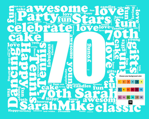 Personalized 70th Birthday Gift Word Art