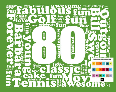 80th Birthday Gift Word Art - 80th Birthday - Eighty Birthday 8 X 10 Print - Unique Fun Cute