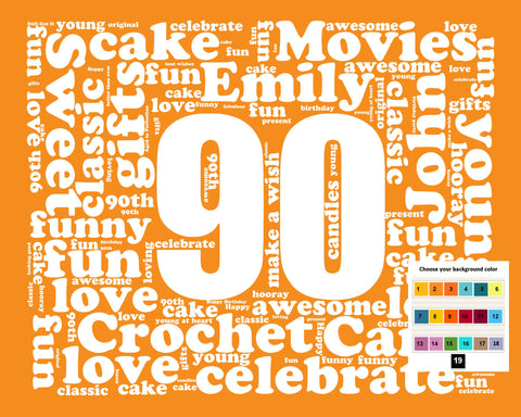 Personalized 90th Birthday Gift Word Art - 90th Birthday - Ninety Birthday 8 X 10 Print - Unique Fun Cute