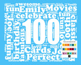 100th Birthday Gift Word Art - One Hundred Birthday 8 X 10 Print
