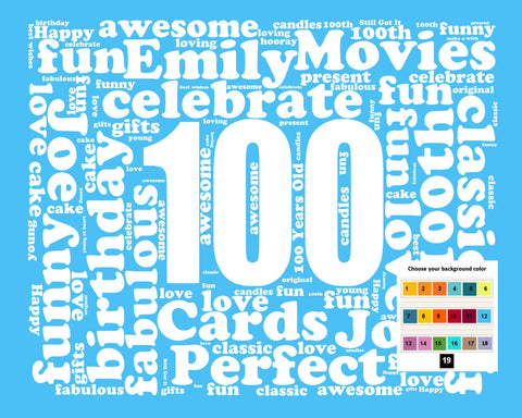 100th Birthday Gift Wordart 8 X 10 Digital Download JPG