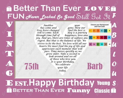 Custom 75th Birthday Gift Love Poem 75th Birthday Gift Heart Print 8 X 10  - Seventy Five Birthday Gift