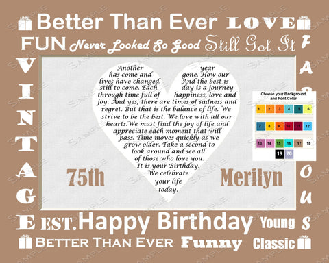 Personalized 75th Birthday Gift Love Poem 75th Birthday Gift Ideas - Seventy Five Birthday Heart Print 8 X 10