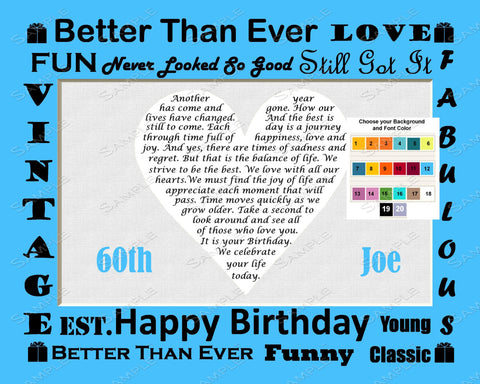 Personalized 60th Birthday Gift Love Poem 60th Birthday Poem -  Sixty Birthday Gift Print 8 X 10