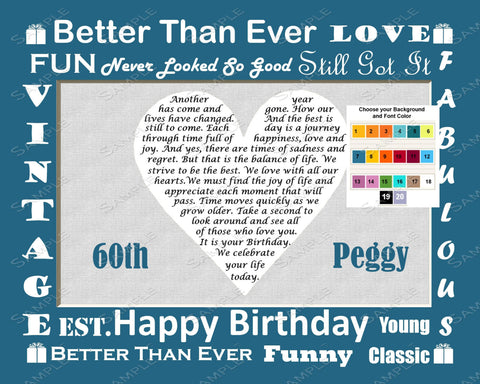 60th Birthday Gift Love Poem 60th Birthday -  Sixty Birthday Gift 8 X 10 Print Fun Unique Cute Gift Ideas