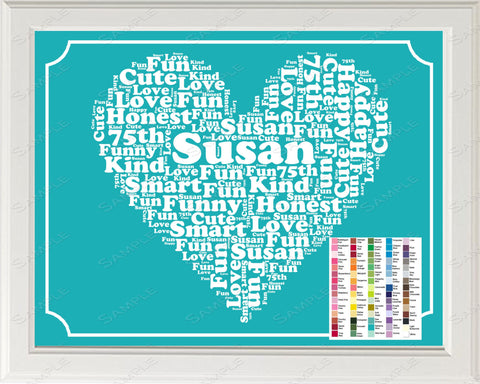 75th Birthday Word Art Birthday Print - 75th Birthday Gift Personalized 8 x 10 Seventy Five Year Old Birthday Print for Birthday Gift Ideas